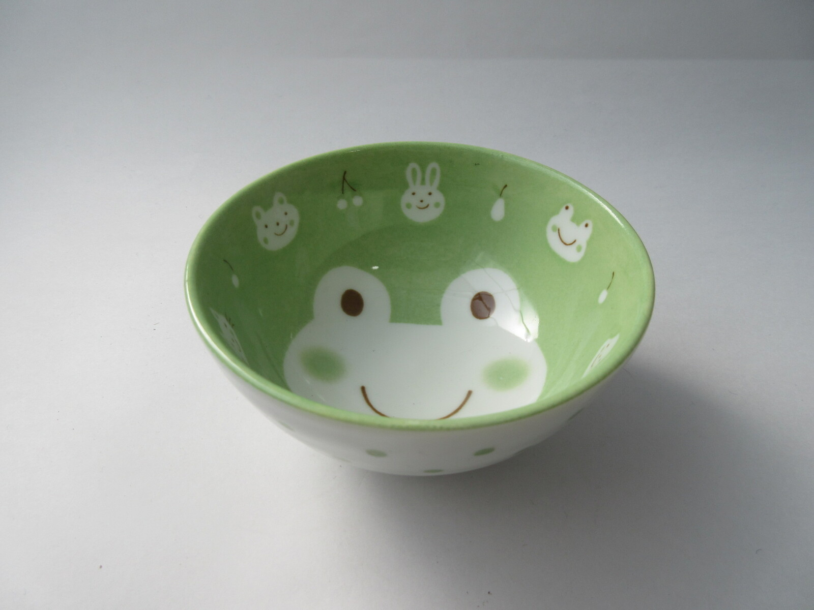 """Japanese Children Rice Soup Bowl 4-1//8/""""D Porcelain Green Frogs Made in Japan"""