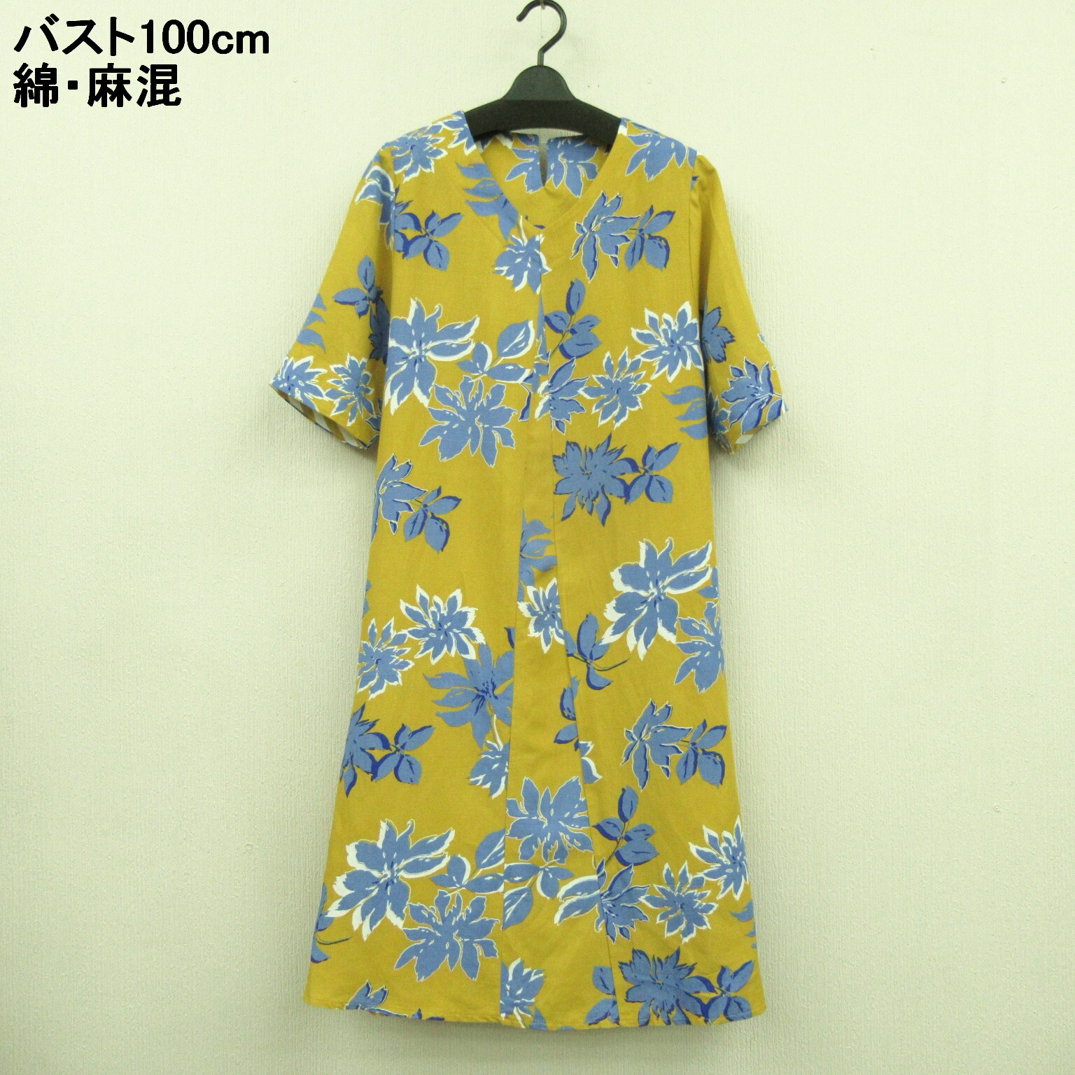 Cotton Hemp Floral Pattern Switching Tunic One Piece Dress Import Japanese Products At Wholesale Prices Super Delivery