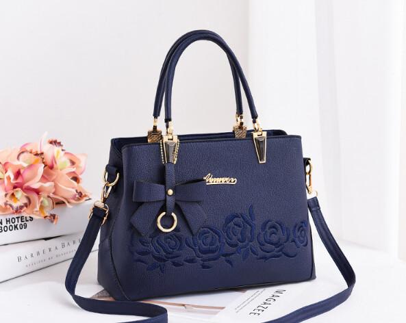 Flower 2-Way Tote Handbag in Blue