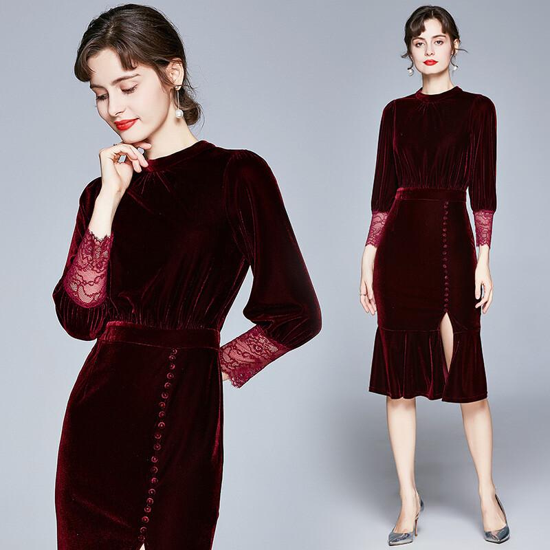 20 Gold Velvet Dress Las A3 Import